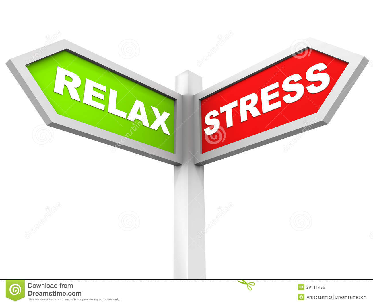 Choice of stress or relax, street sign with words relax in green and ...