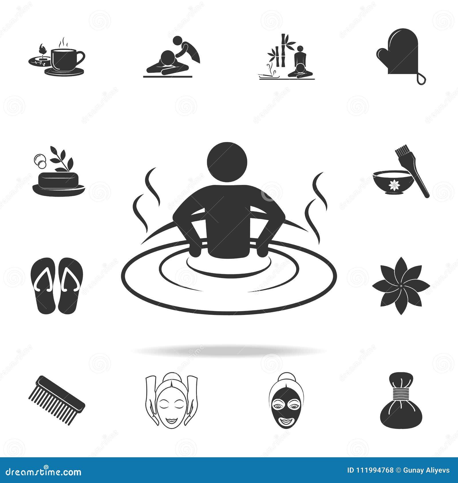 Relaxation dans l icône de baignoire Ensemble détaillé d icônes de STATION THERMALE Conception graphique de qualité de la meilleu