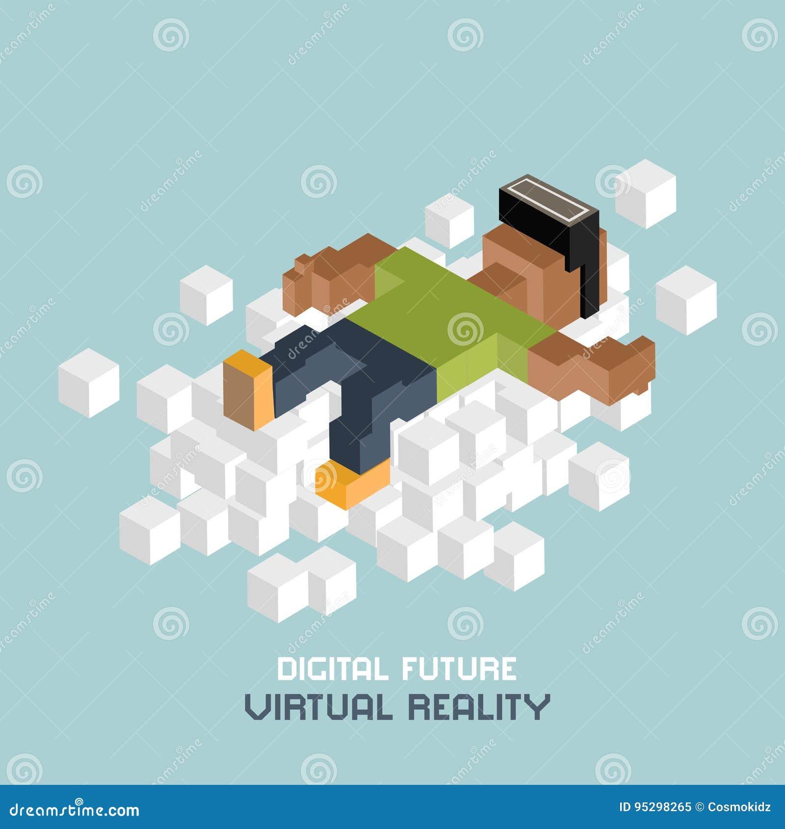 Relaxation de réalité virtuelle sur le nuage, homme de couleur en verres de VR, faisant de la publicité le concept Cube l illustr