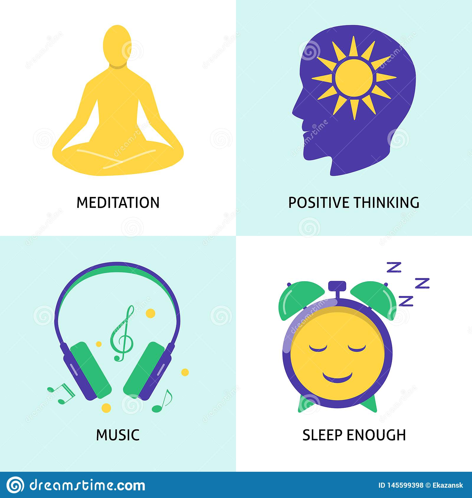 Relaxation and mental health concept icon set in flat style