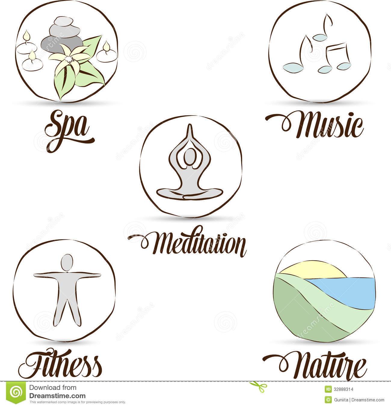 Relaxation Symbols Stock Vector Illustration Of Background 32888314