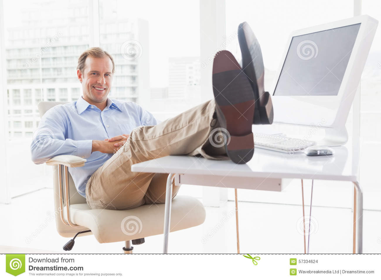 Relaxed Businessman With His Feet Up Stock Photo Image