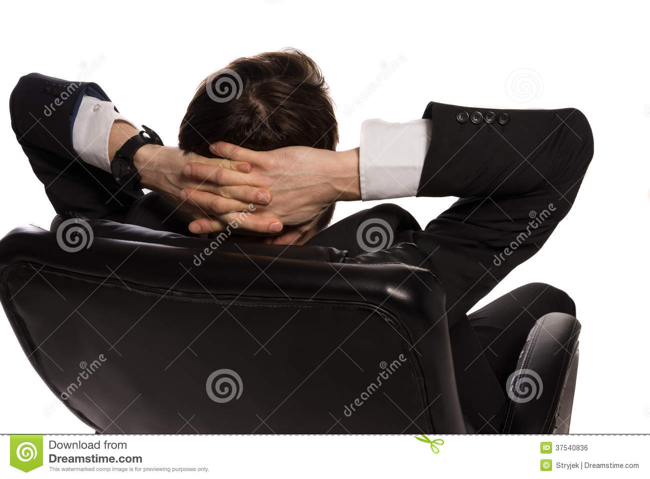 Young businessman sitting in office chair stock photos for Sitting easy chairs