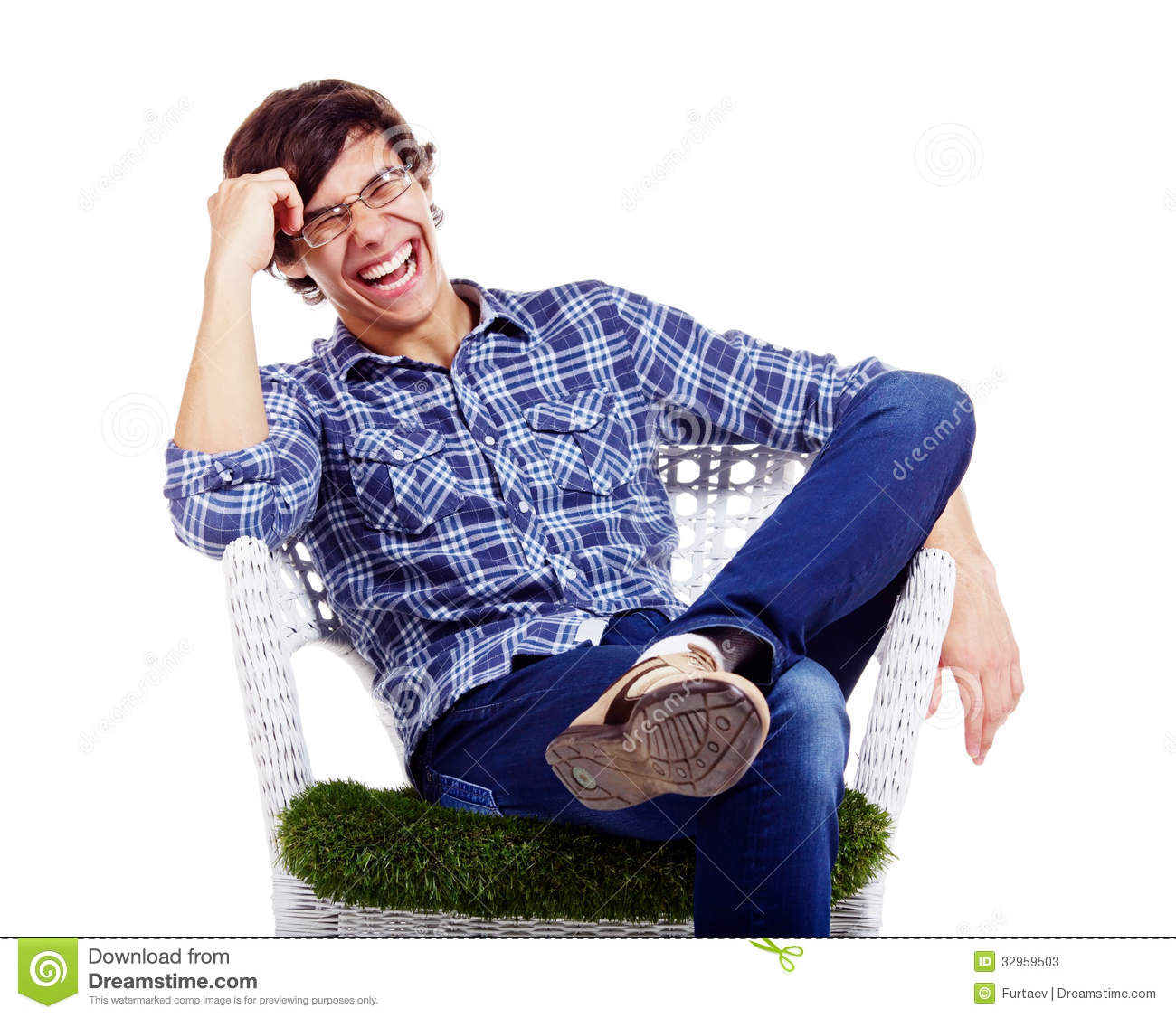 Relaxed Guy Laughing In Armchair Stock Photos Image