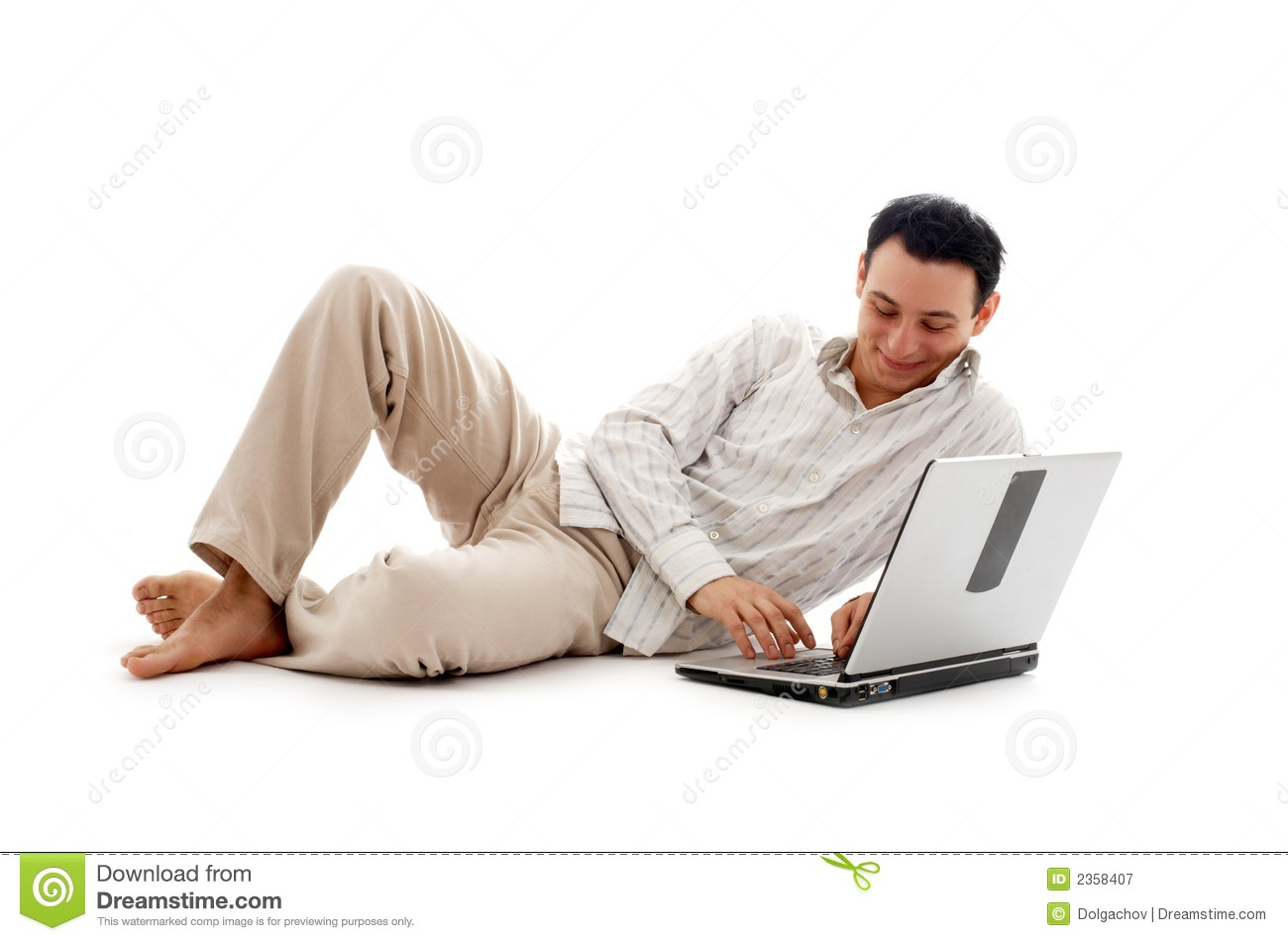 Download Relaxed man with laptop #2 stock image. Image of barefoot - 2358407