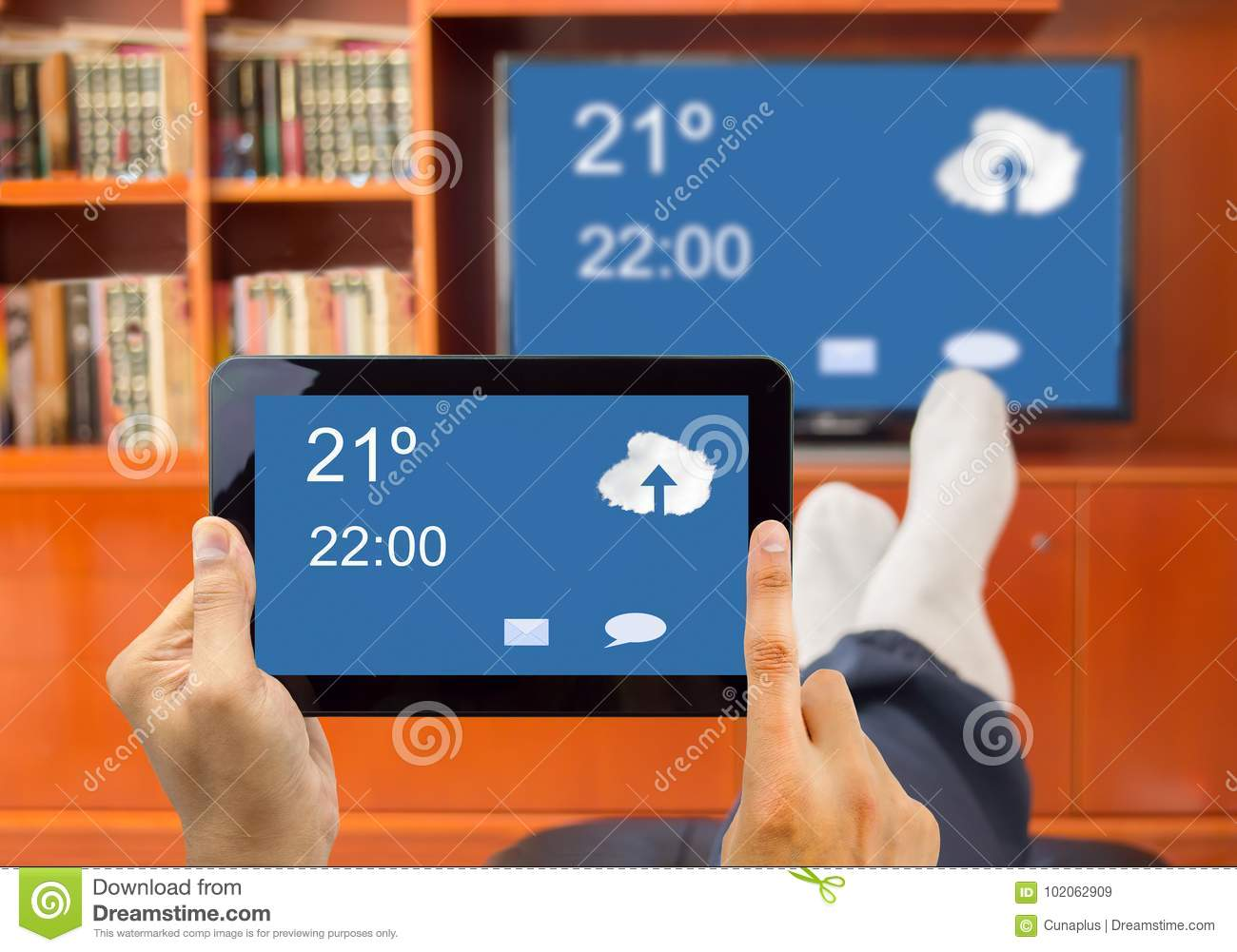 Connection Between Smart Tv And Smartphone Stock Image - Image of ...