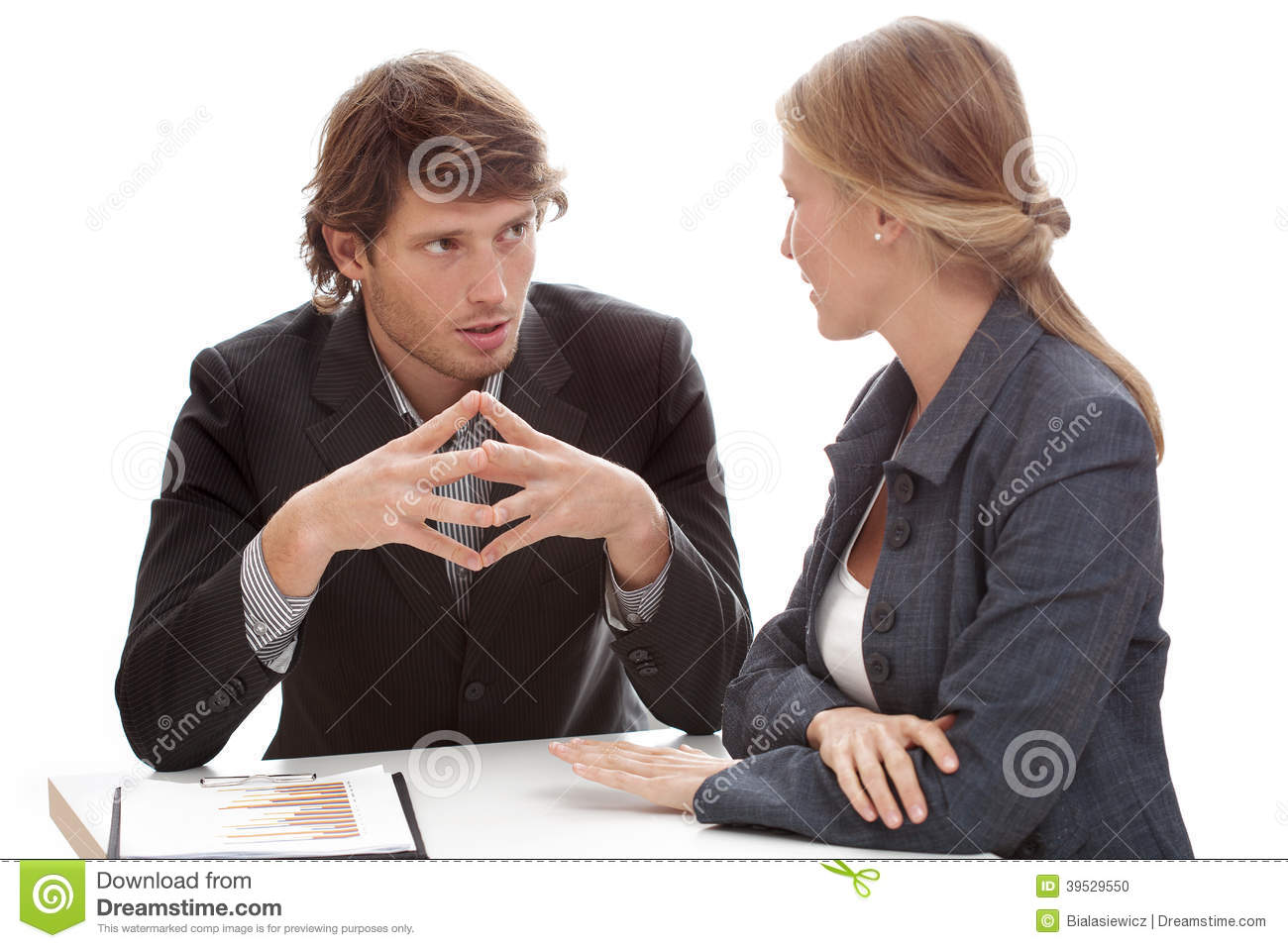 Relaxed office conversation