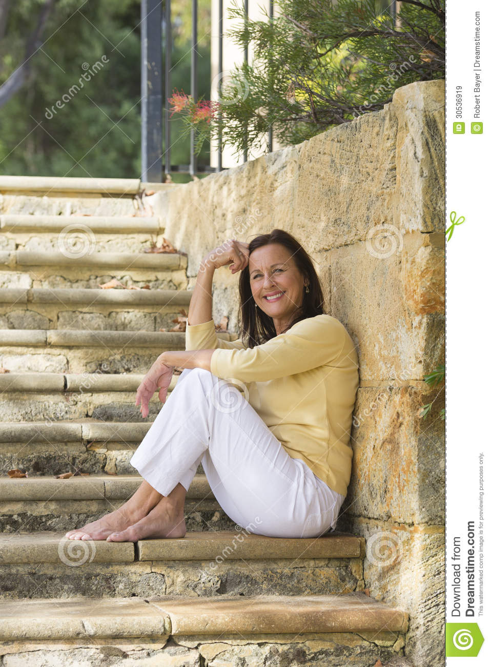 Relaxed Smiling Mature Woman Outdoor Royalty Free Stock Images - Image ...