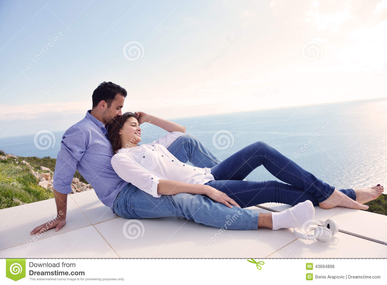 Relaxed young couple at home stock photo image 43694896 - Young couple modern homes ...