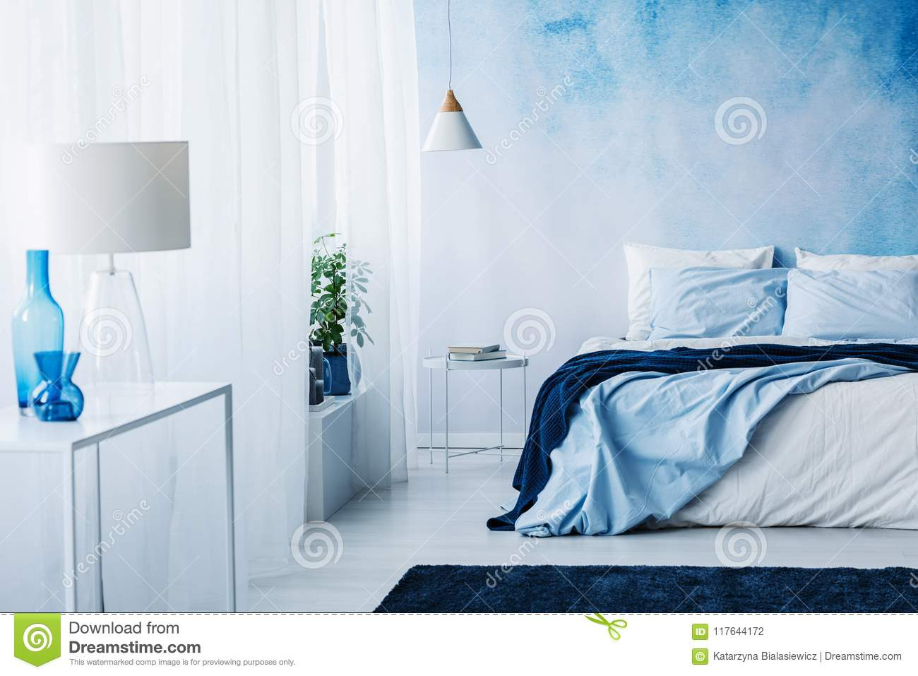 Relaxing Bedroom Interior With White And Blue Decorations ...
