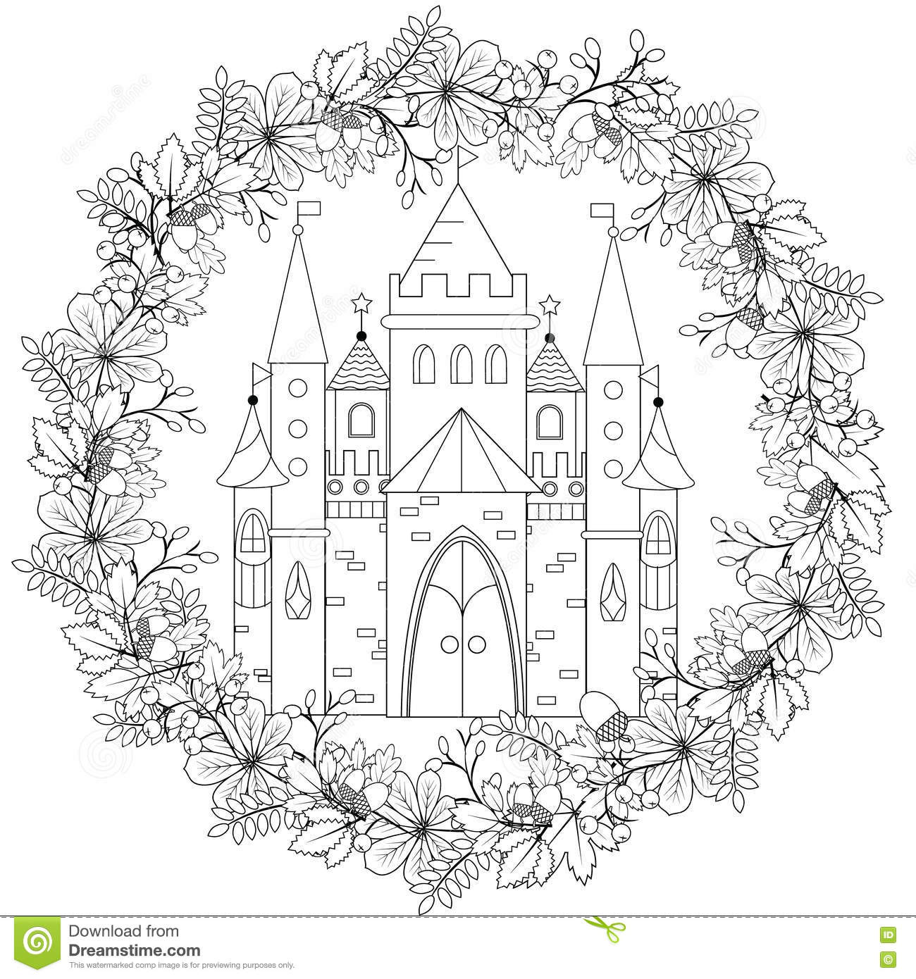 Relaxing coloring page with fairy castle in forest wreath for Therapeutic coloring pages for children