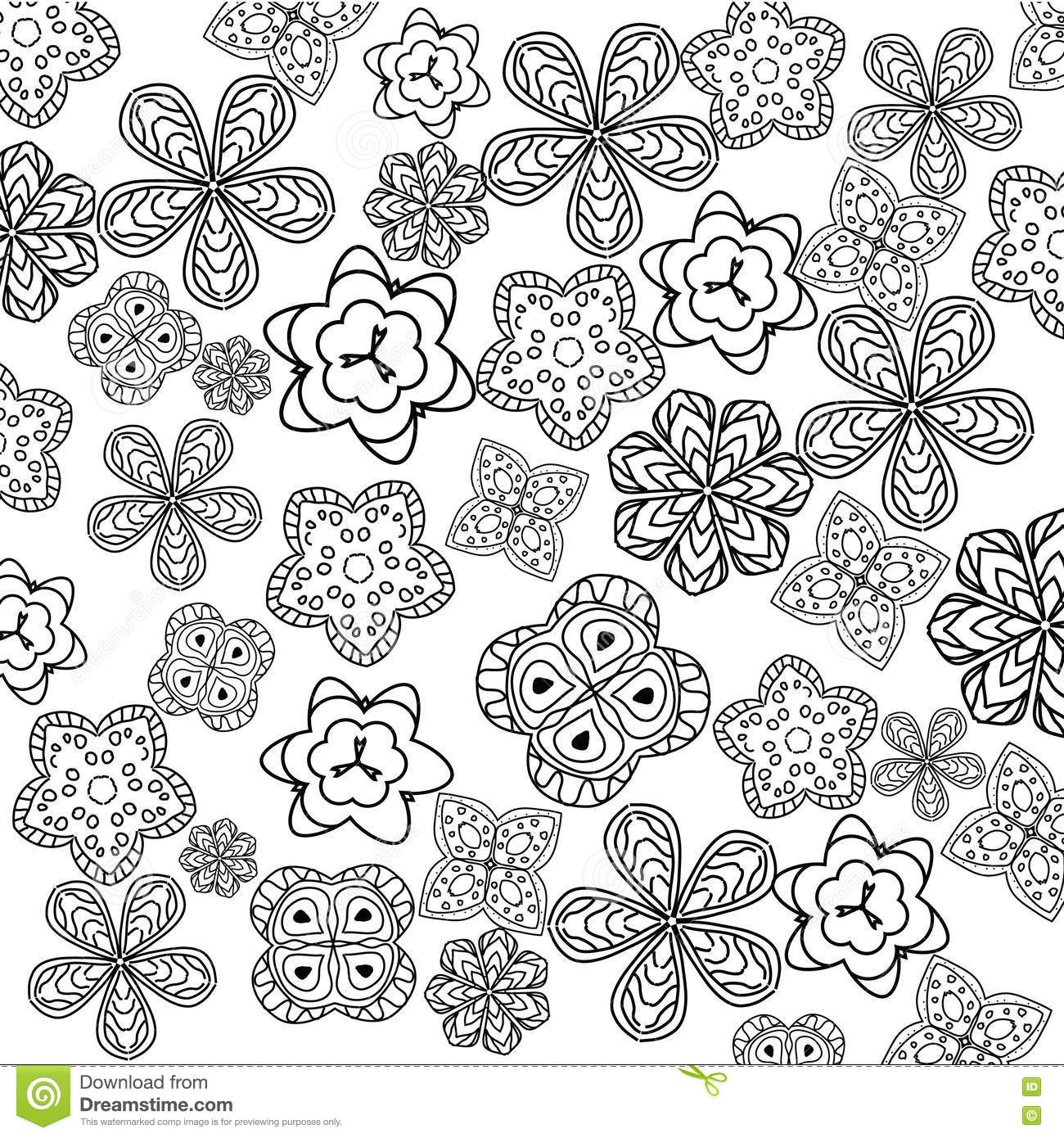 relaxing coloring page with flowers for kids and adults art