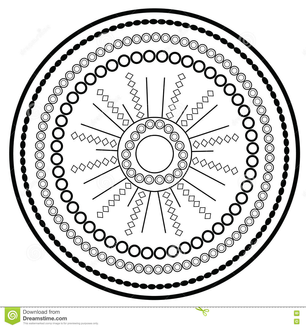 Relaxing coloring page with mandala for kids and adults art therapy meditation coloring book
