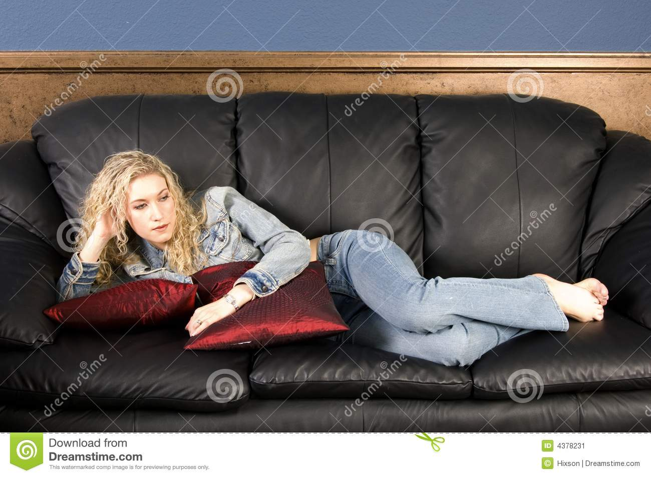 Relaxing On Couch Stock Image Image Of Jeans Jacket
