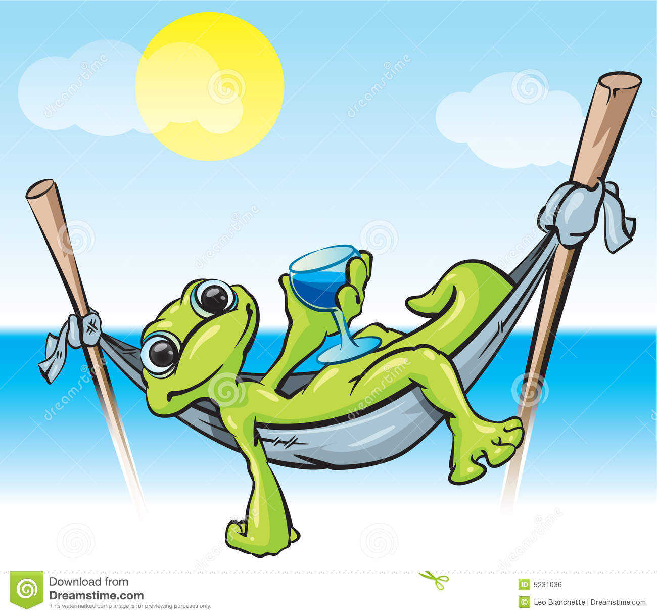 Relaxing Frog Illustration Royalty Free Stock Image - Image: 5231036