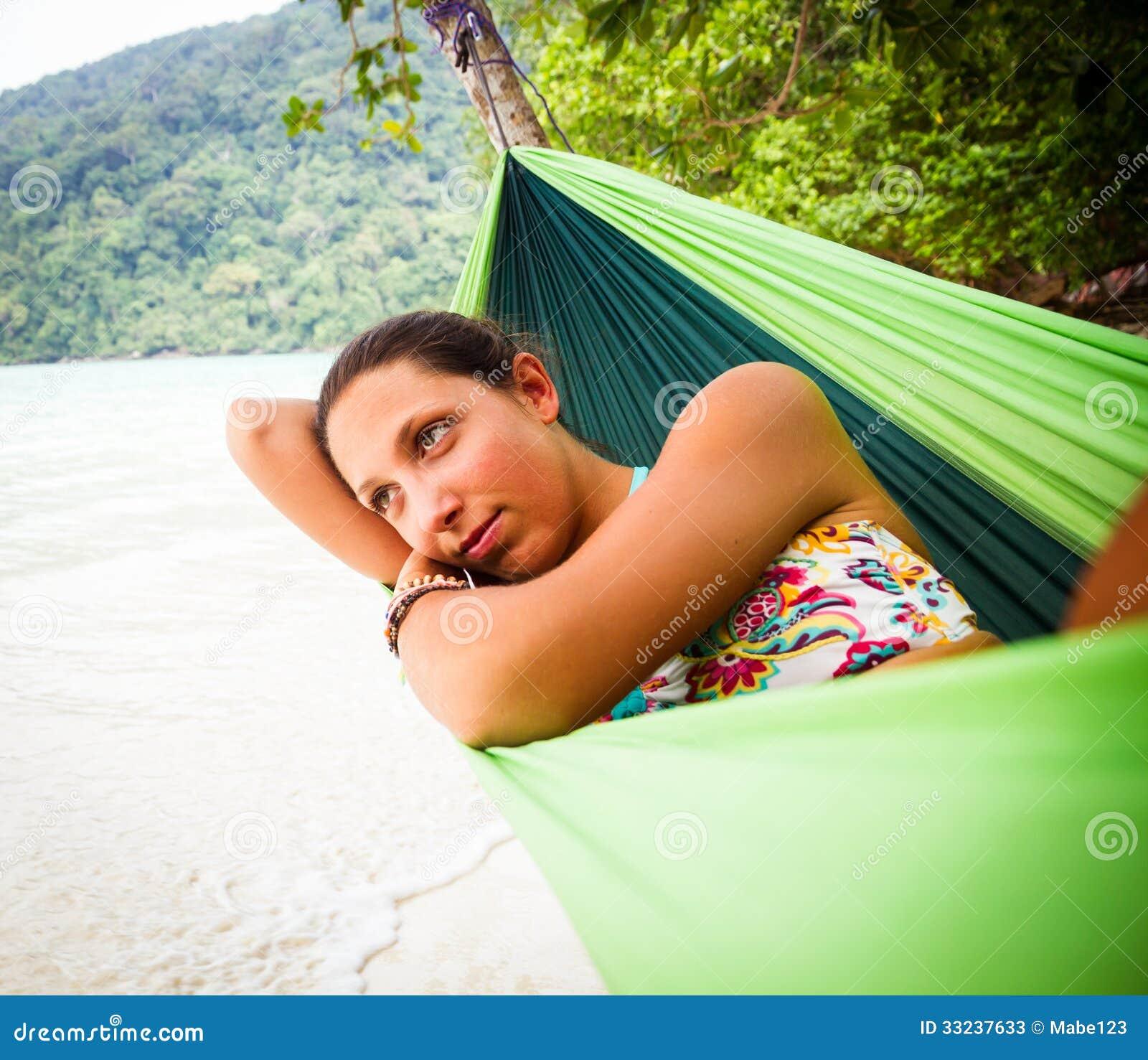Relaxing In Hammock Stock Photos