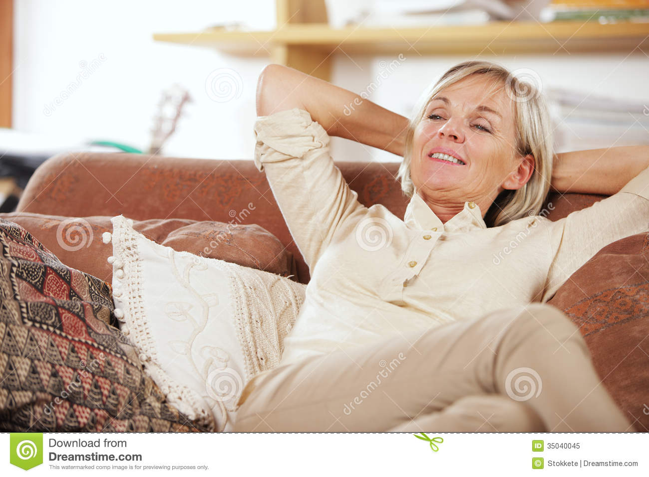 Relaxing at home stock image. Image of people, casual ...