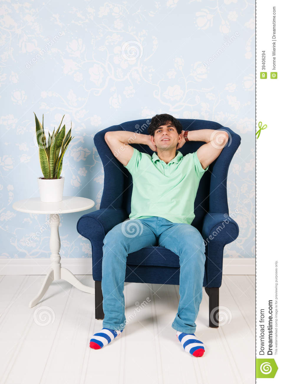 Relaxing at home stock photo image 39406294 for Sitting in armchair