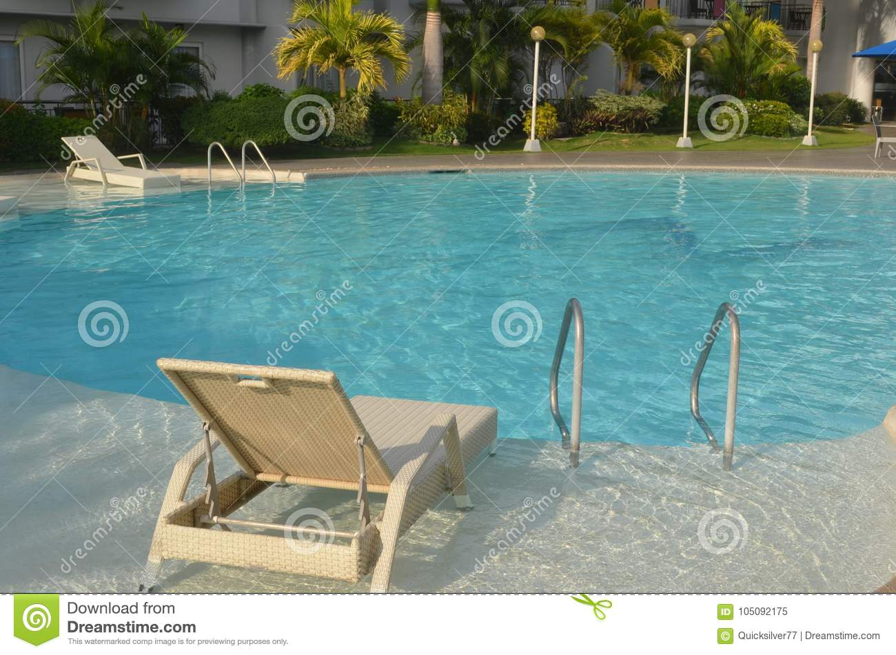 Swimming Pool With Outdoor Lounge Chair Editorial Image ...