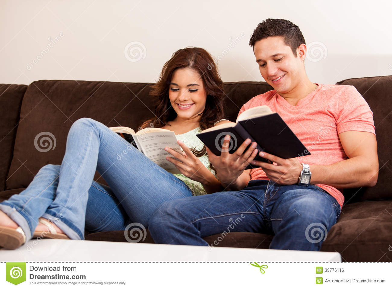 Relaxing And Reading At Home Royalty Free Stock Image