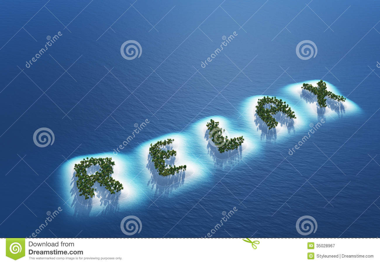 Scenic aerial view of tropical islands in blue sea spelling word relax