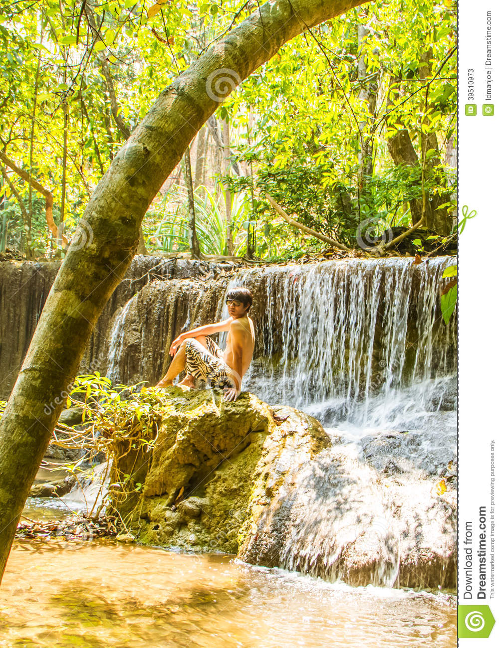 Relaxing at waterfall