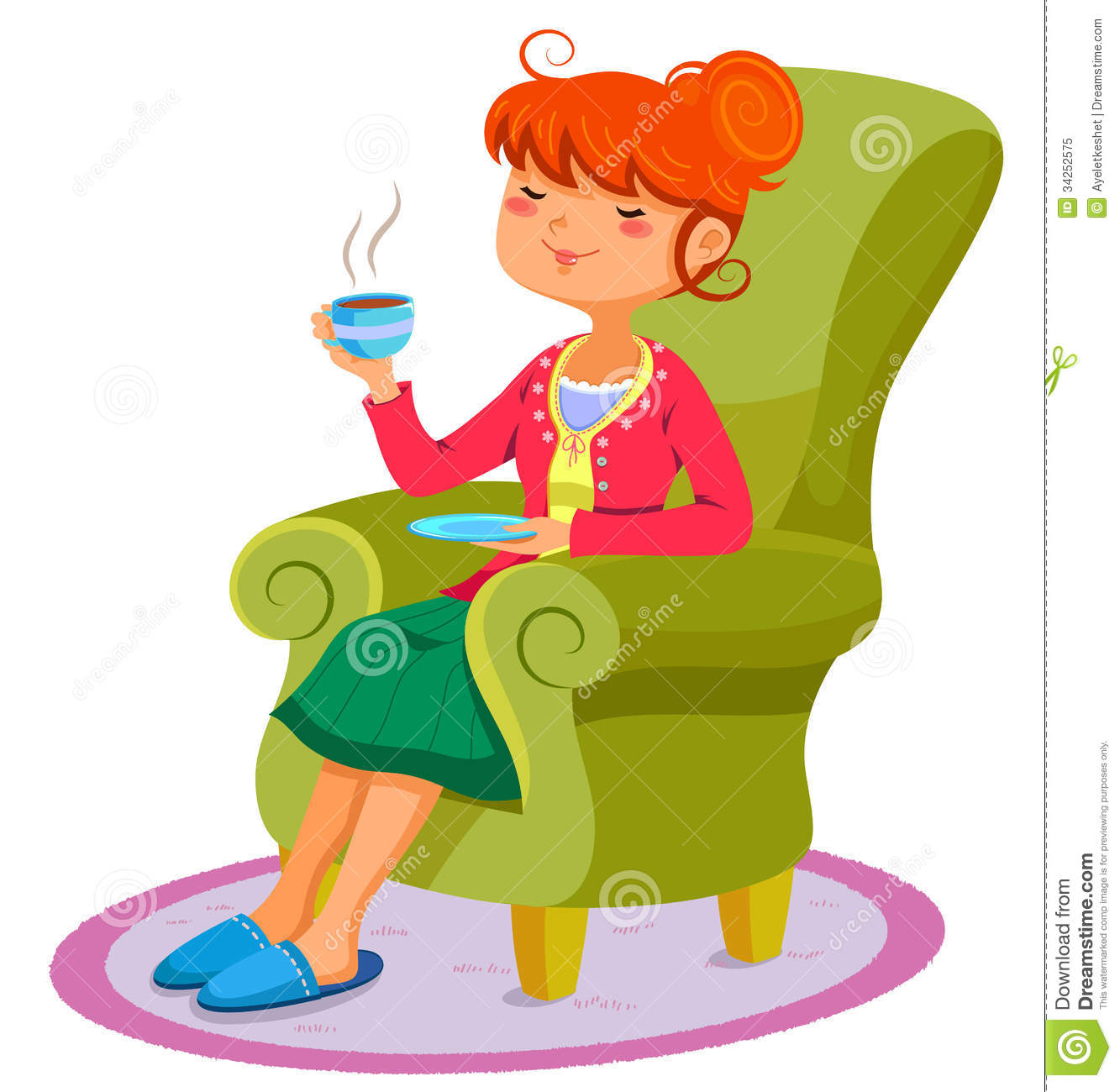 Relaxing woman stock vector Illustration of beverage  : relaxing woman sofa cup hot drink 34252575 from www.dreamstime.com size 1333 x 1300 jpeg 128kB