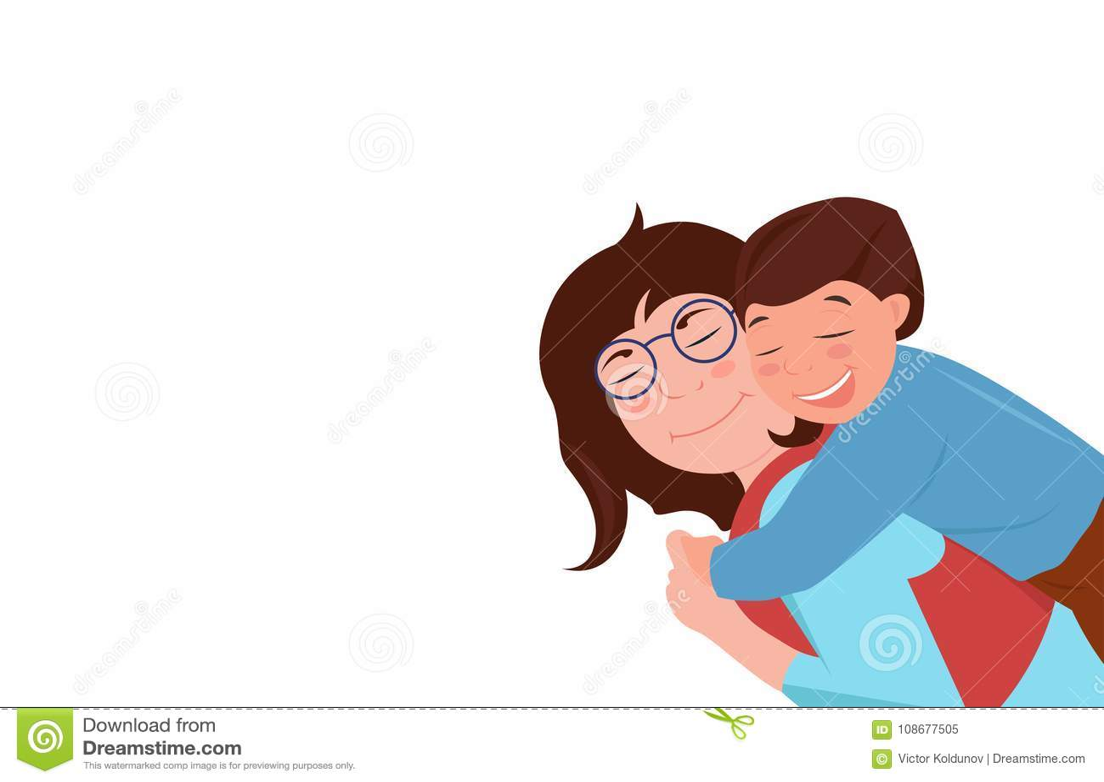 Relazioni di famiglia caucasiche Madre che abbraccia il suo figlio Stanno ridendo