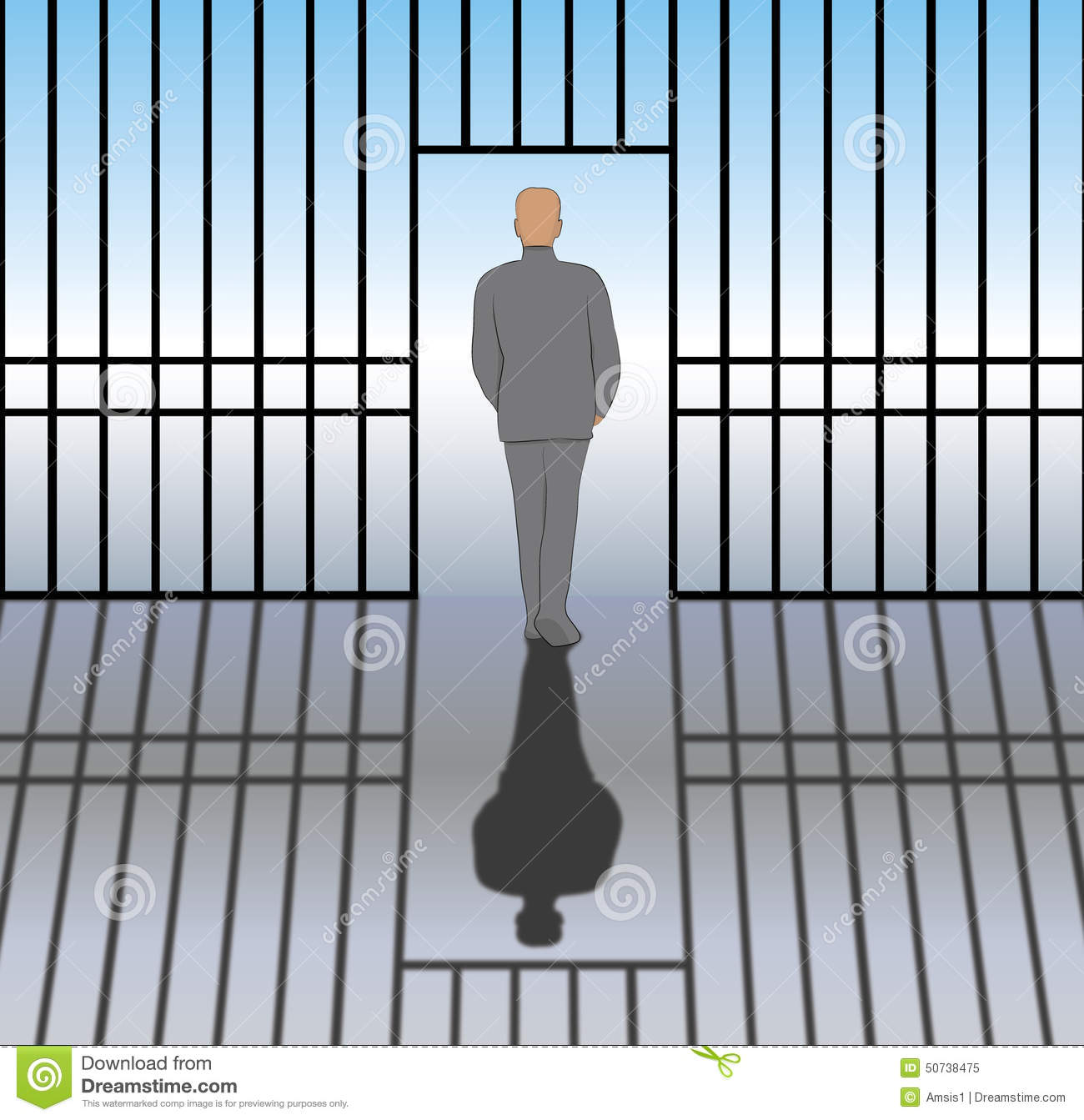 Released From Prison Stock Illustration - Image: 50738475