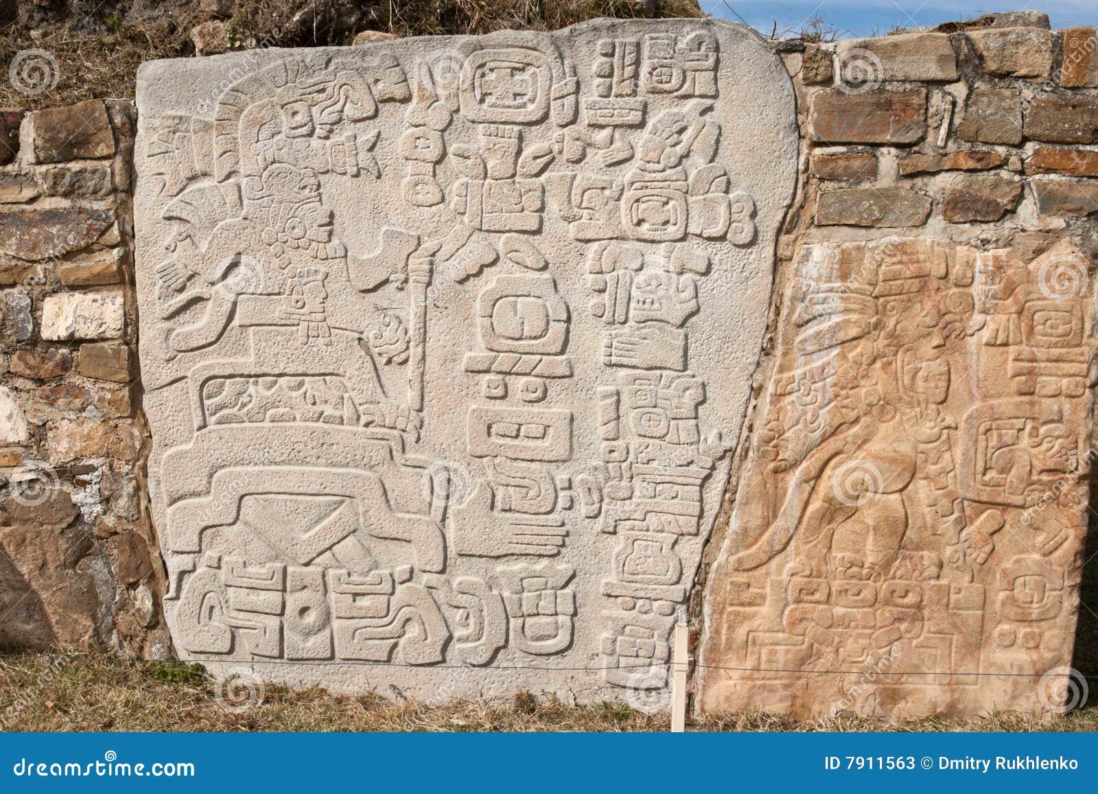 Relevo antigo do zapotec na parede