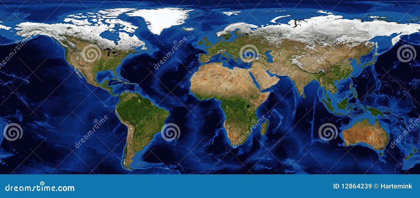 Relevo protegido do mapa de mundo com batimetria