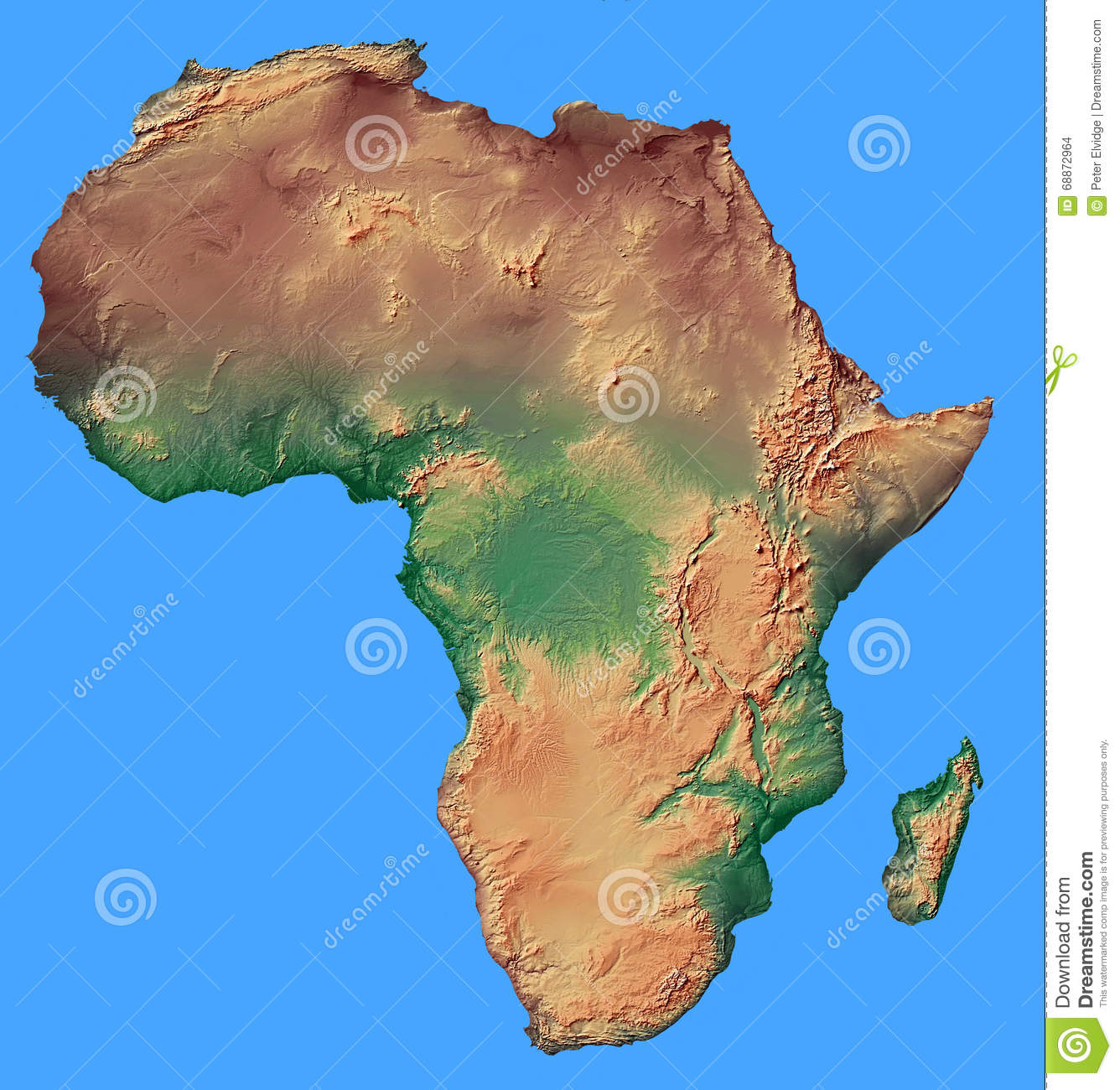 Plain Africa Map.Relief Map Of Africa Isolated Stock Photo Image Of Relief Against