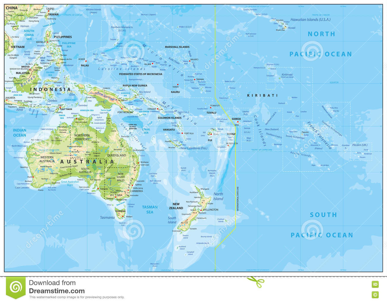 Relief Map of Oceania stock vector. Illustration of contour - 73632697