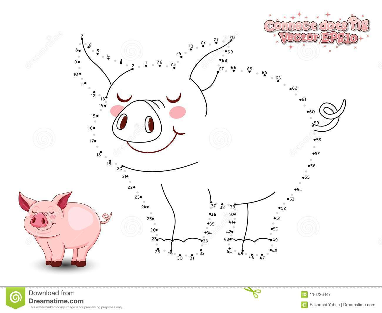 Reliez Dots Draw Cute Cartoon Pig et le colorez GA éducatif