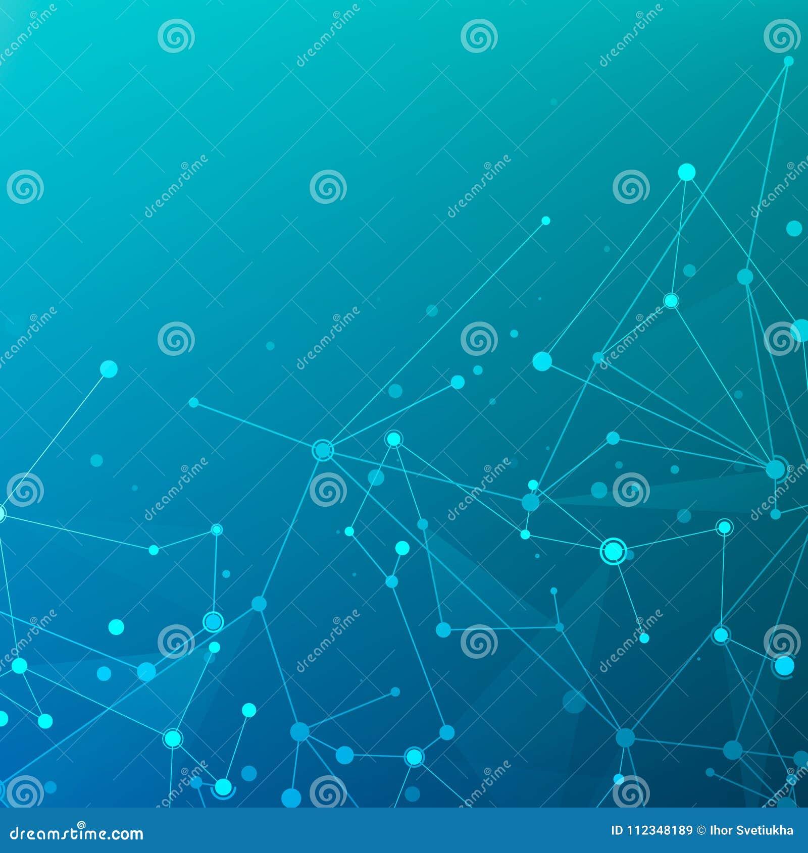 Reliez La Structure De Particules De L Espace Fond Bleu Fonce Bas