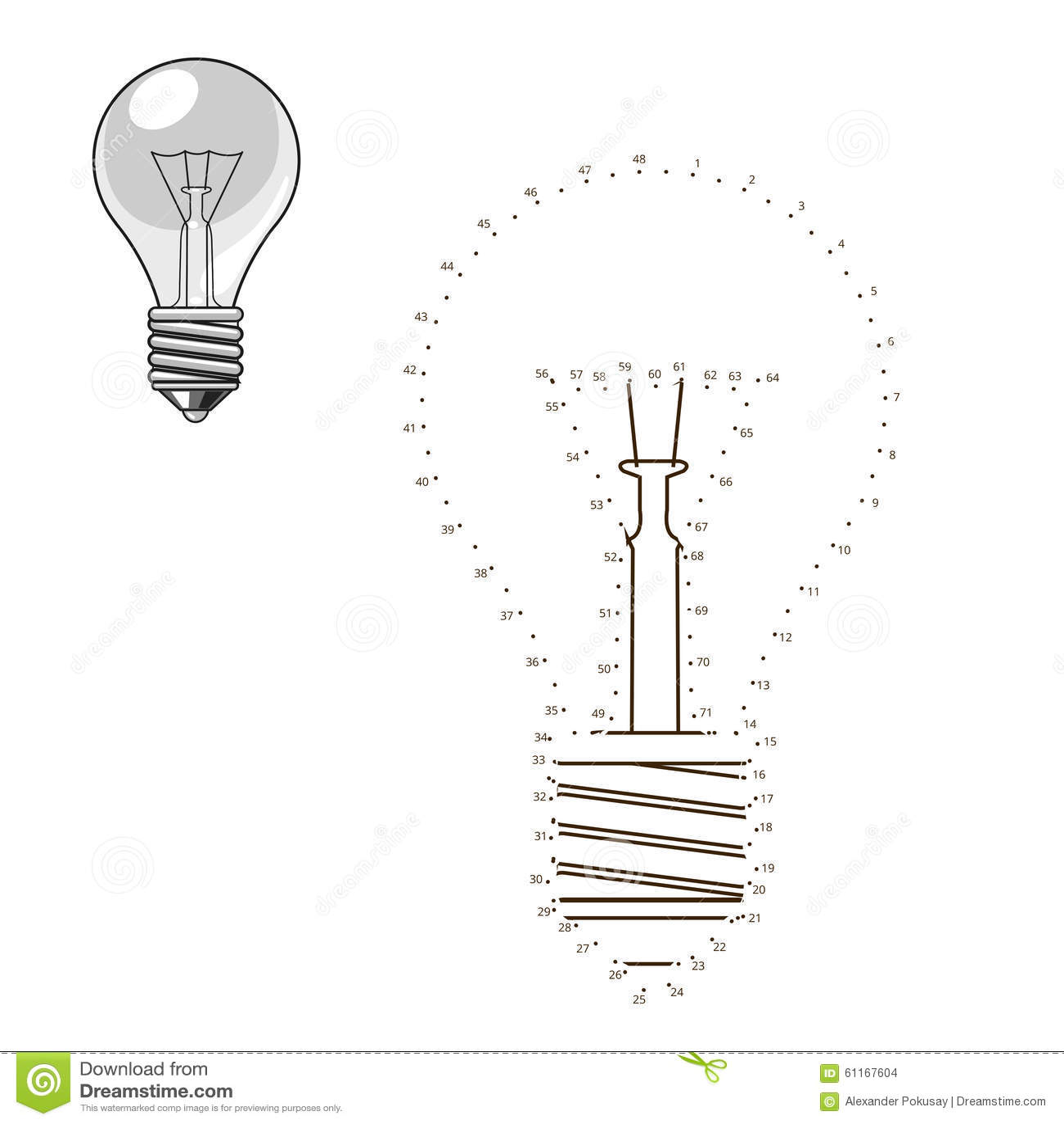 Reliez les points au jeu éducatif d ampoule d aspiration