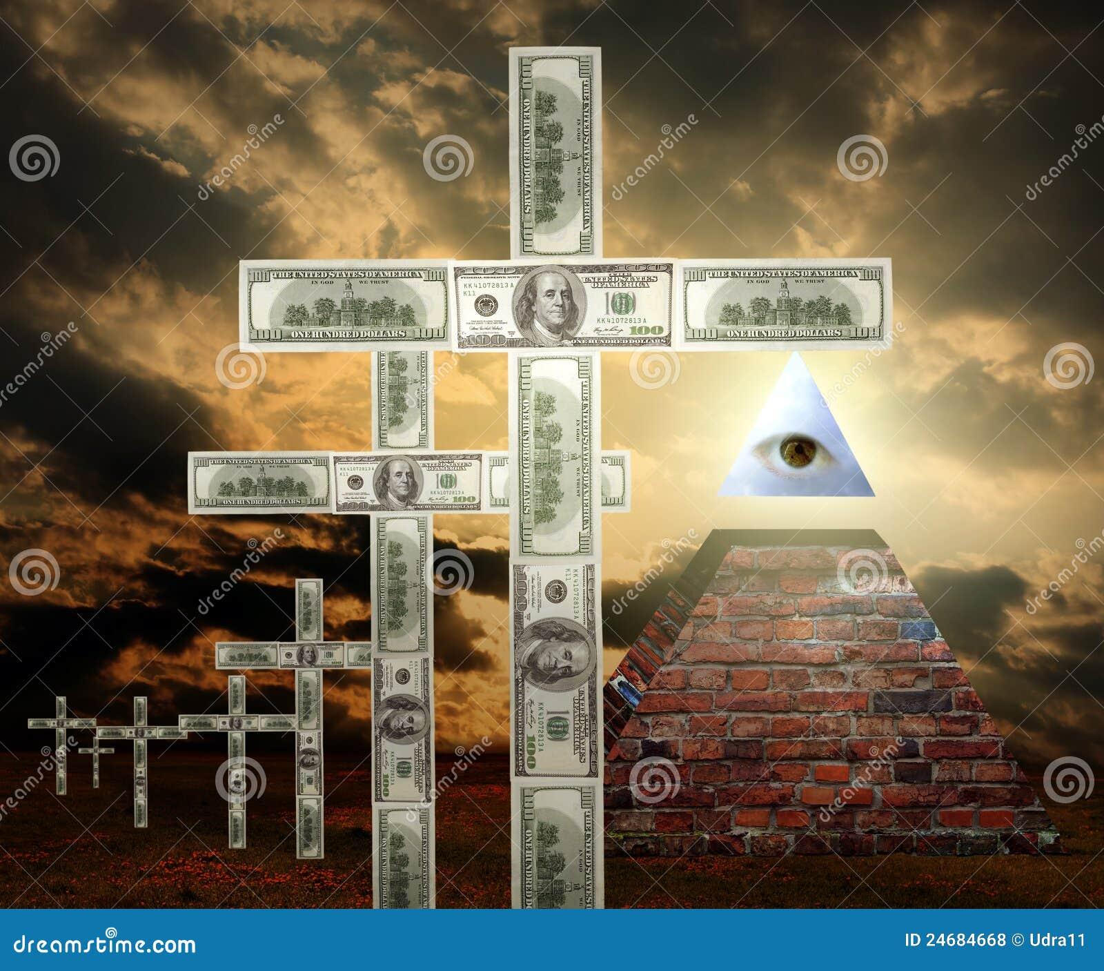 Religião nova do dinheiro do ordem mundial
