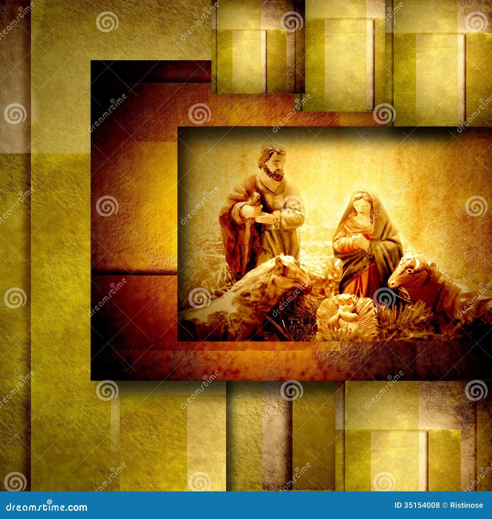 Religiöse Weihnachtskarten Nativiy-Szene Stock Abbildung ...