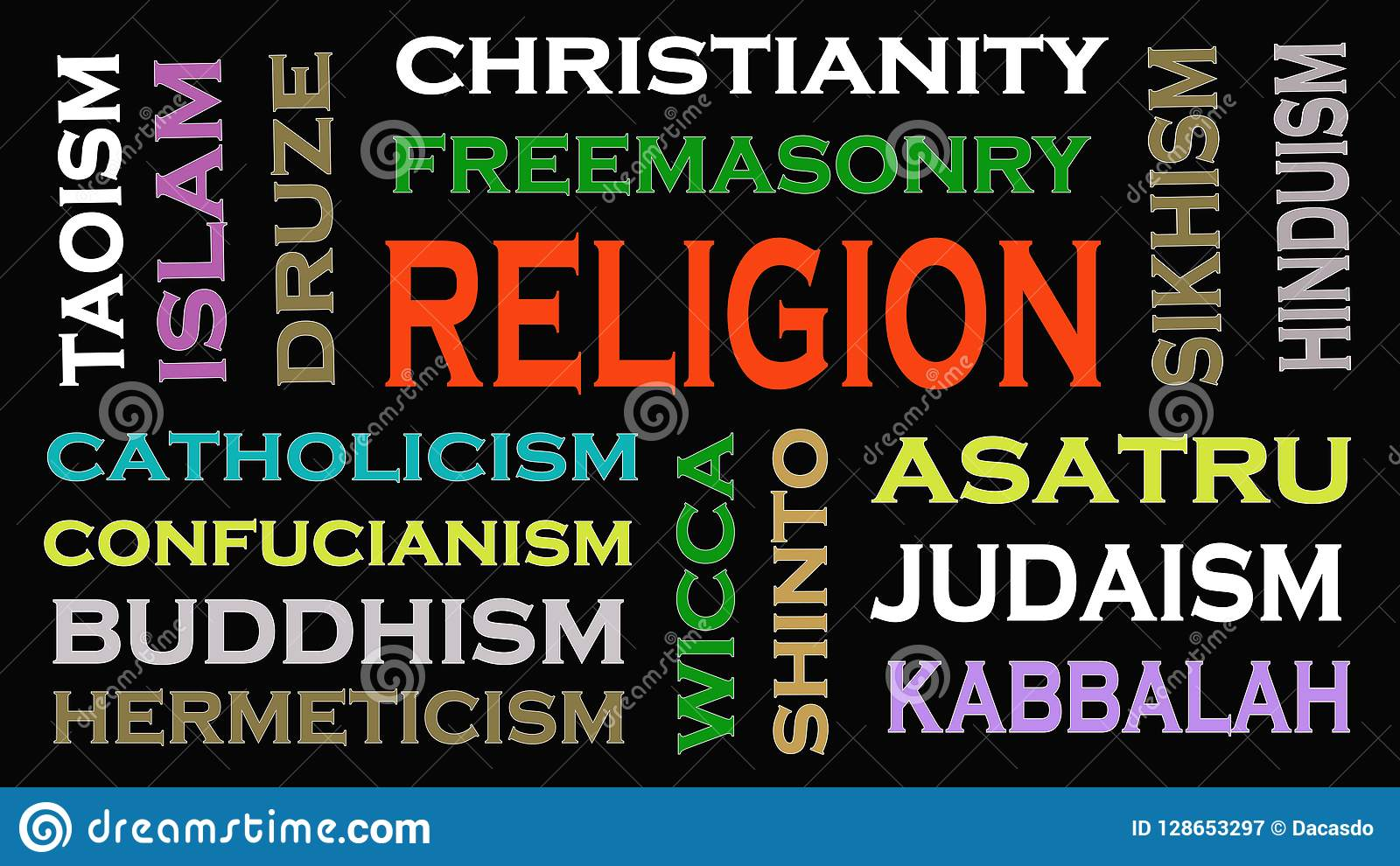 Religion concept word cloud on black background