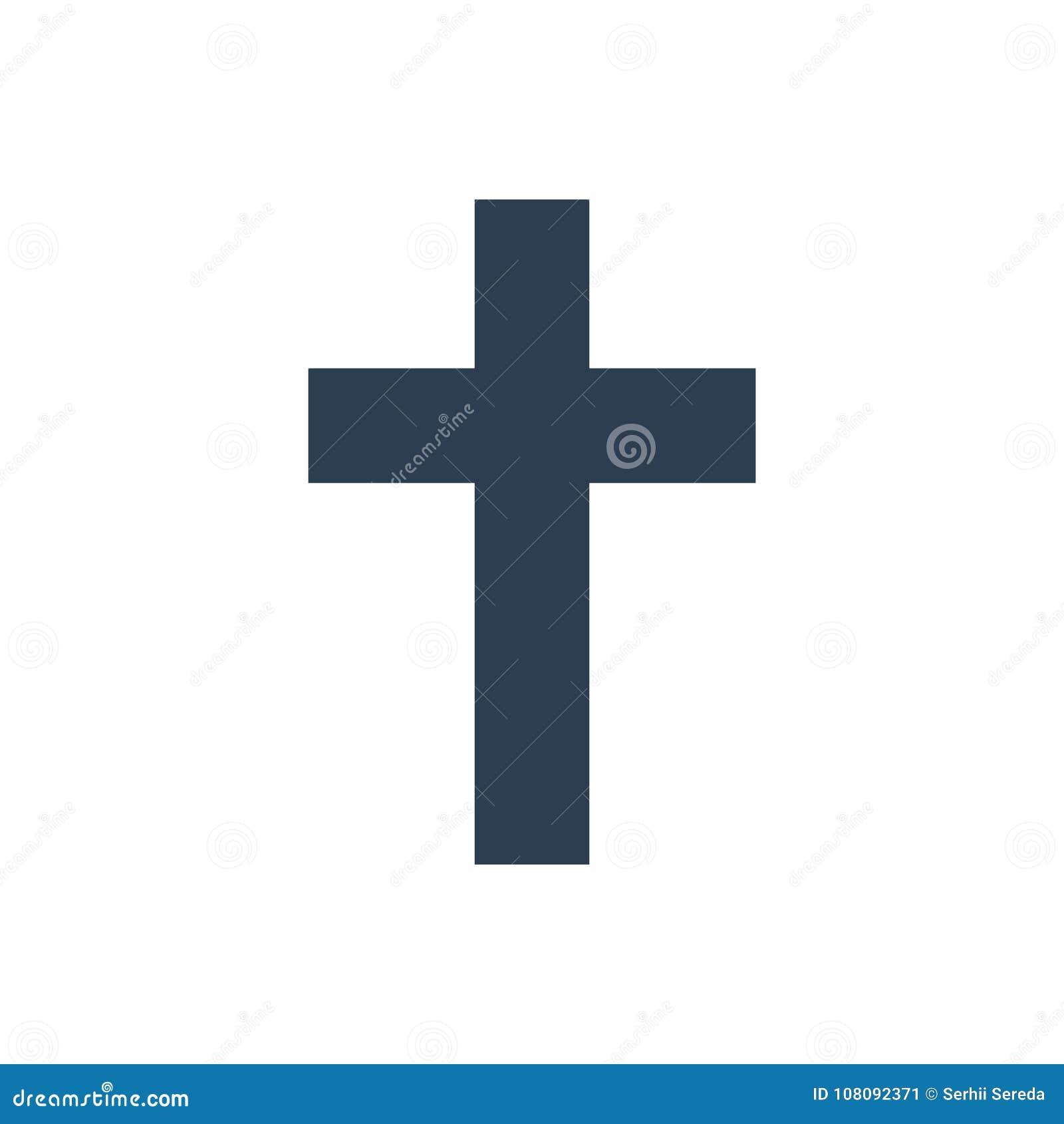 Religion cross icon on white background.