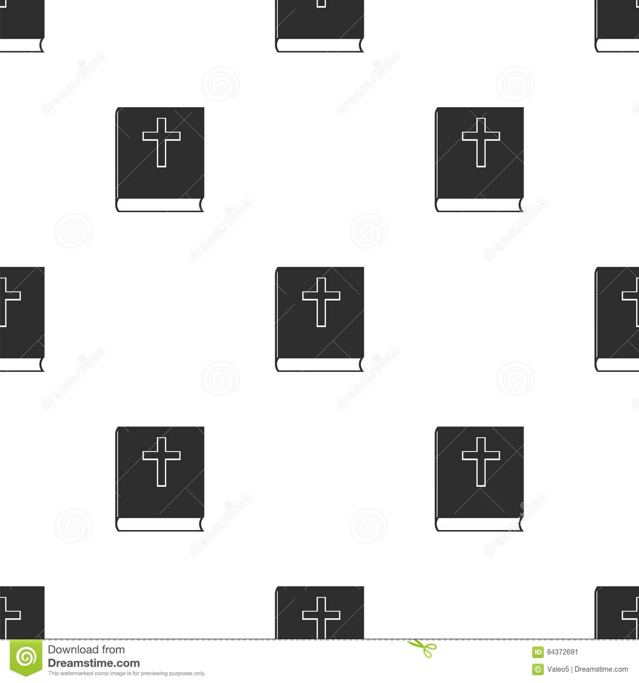 Religion Icon with Bible Seamless Pattern