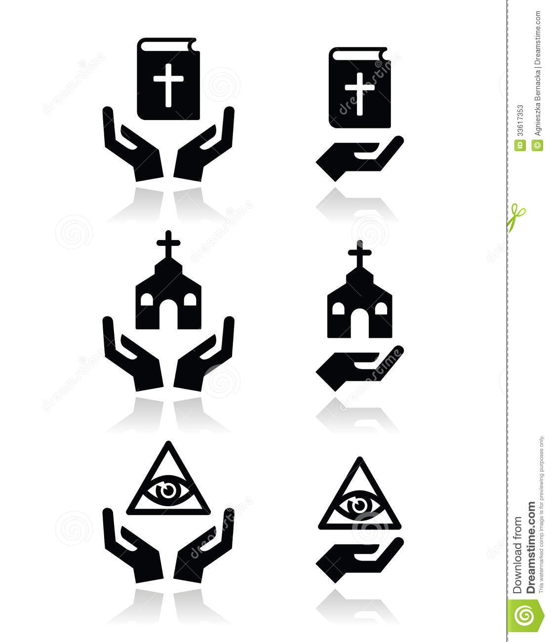 Religion Icons Hands With Bible Church Eye Of God Stock Vector