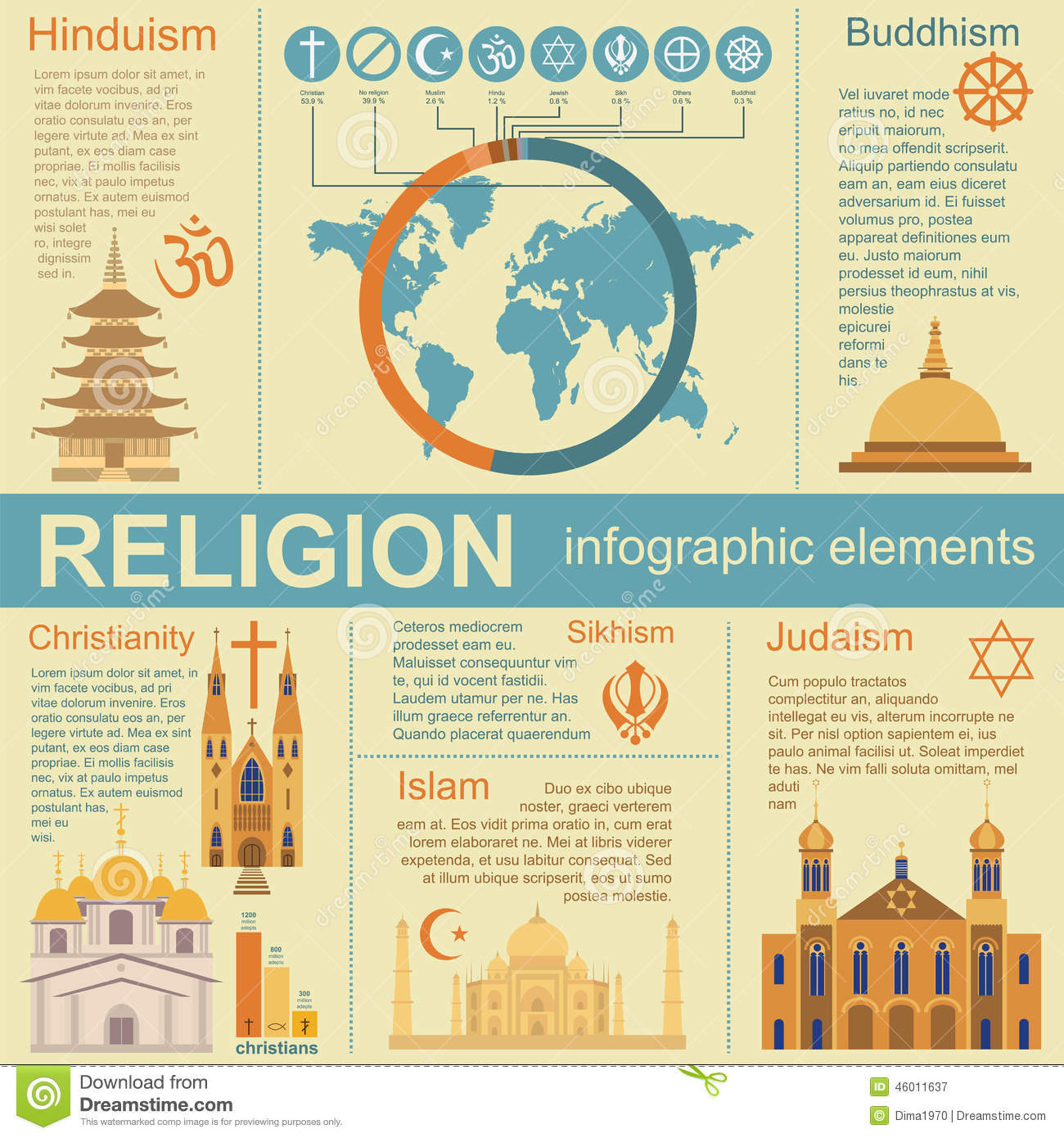 Religion Infographics Stock Vector - Image: 46011637