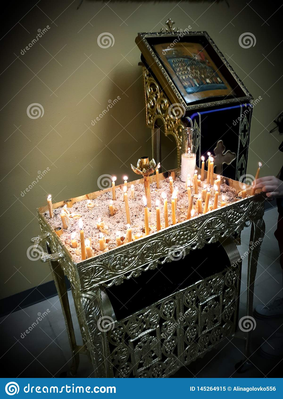 Religion orthodoxe du Christ de martyres de Vierge Marie de theotokos de bougies d icônes d église chrétienne