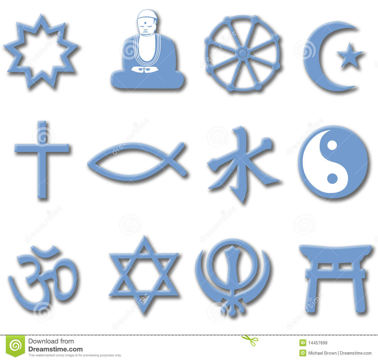 Religion Symbol Set 3d Major World Religions Stock Illustration