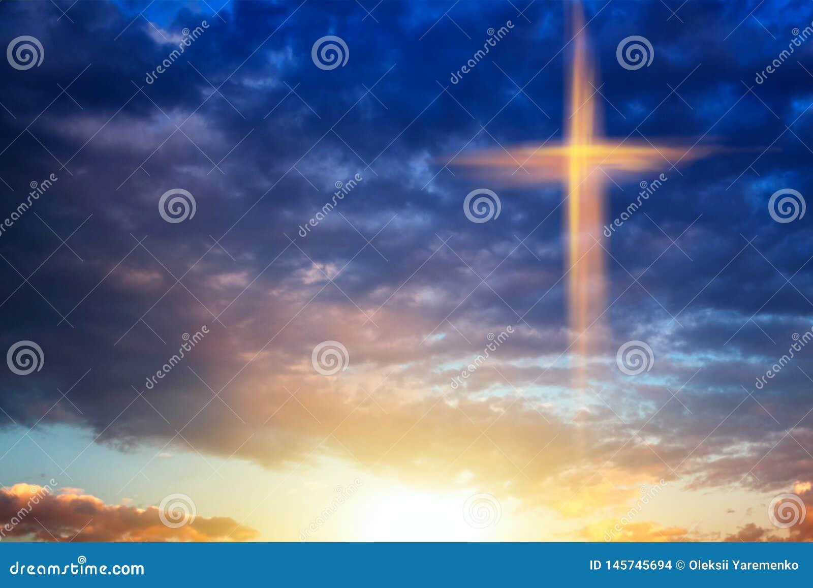 Religion symbol shape .  Dramatic nature background