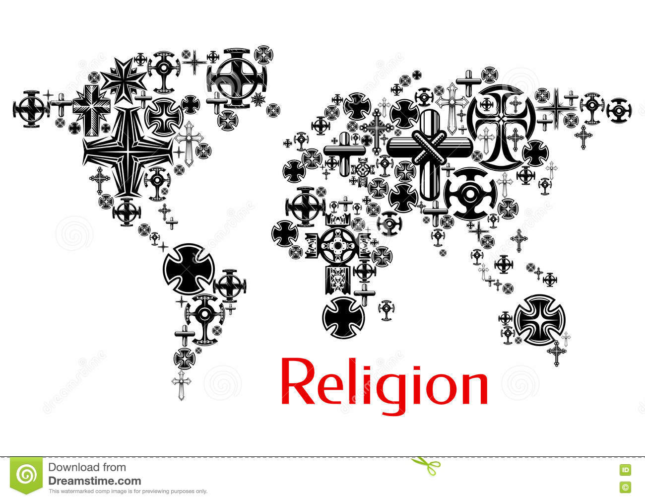 Religion World Map With Christianity Cross Symbols Stock Vector