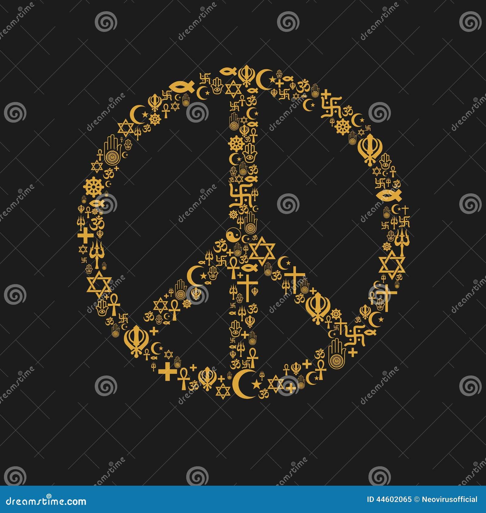 Religions Peace Flower Heart Symbol Stock Vector Illustration Of