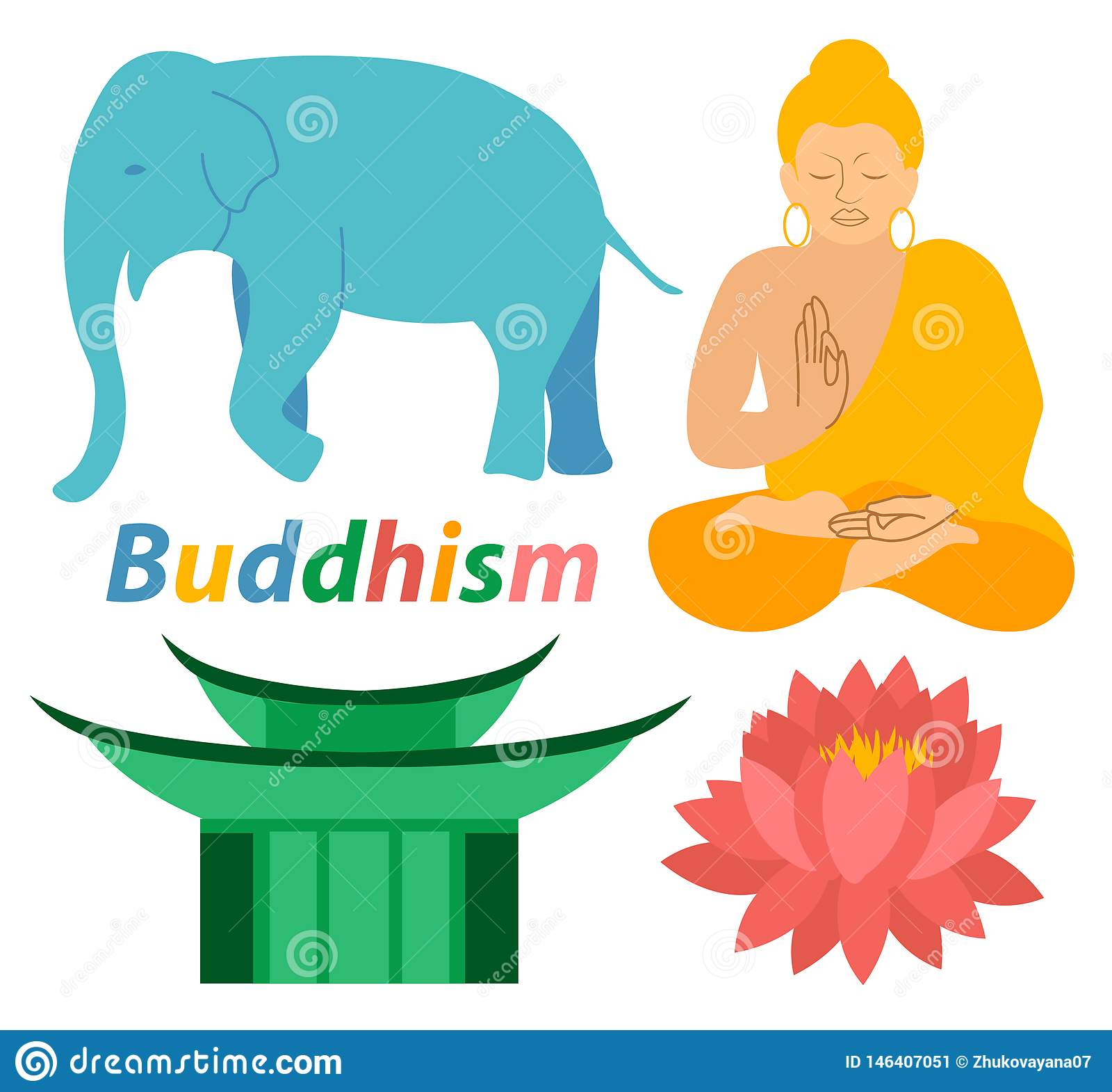 Religionsikonen Elefantbuddhas Lotus Buddhism drucken bunten flachen Entwurf der modernen Illustration der Musterschattenbildmedi