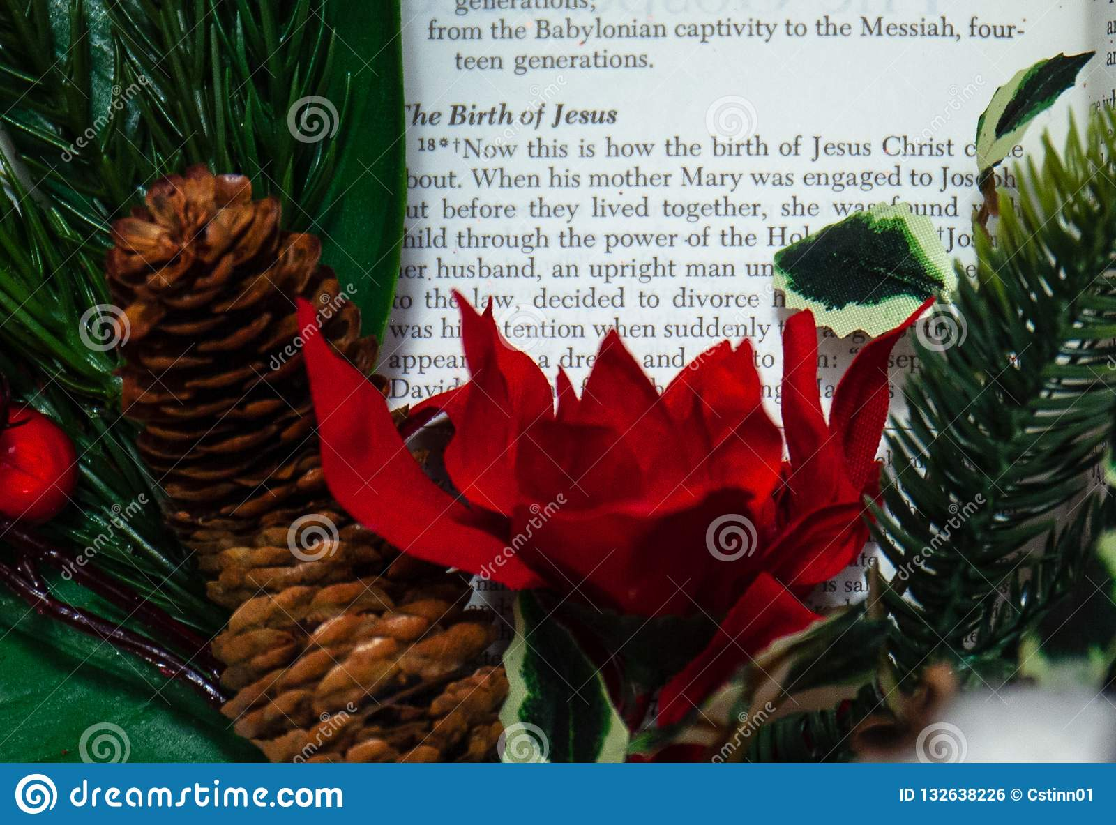 The Christmas Story Bible.Religious Bible Reading From The Christmas Story Of The Baby